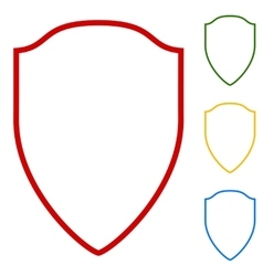 Shield sign set of line icons vector