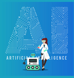 ai smart robot and scientist design vector image