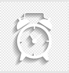 Alarm clock sign white icon with soft vector