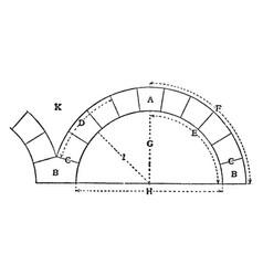 Arch wedge vintage engraving vector