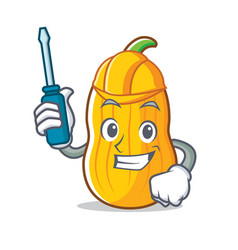 Automotive butternut squash mascot cartoon vector
