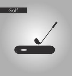 black and white style icon golf stick and hole vector image vector image