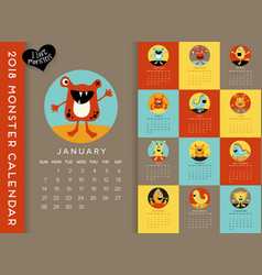 colorful 2018 calendar with monsters vector image vector image