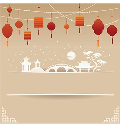 Decorative chinese background with red lamp and sn vector