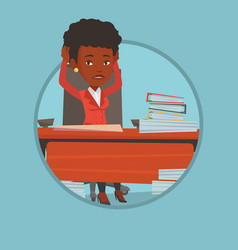 Despair business woman sitting in office vector