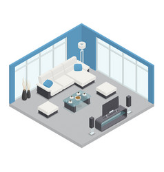 Dining room isometric composition vector