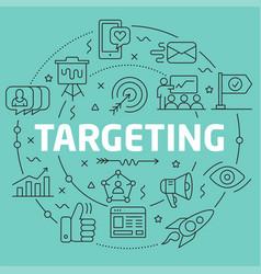 Green line flat circle targeting vector