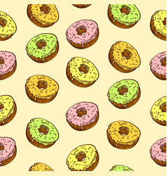 hand drawn donut seamless pattern bakery vector image