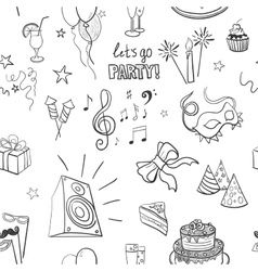 Hand-drawn party icon pattern vector