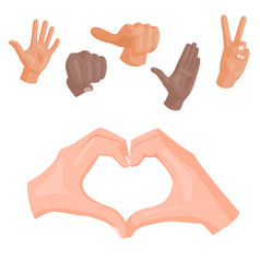 Hands deaf-mute heart symbol different vector