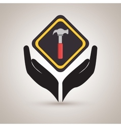 Hands tools construction symbol vector