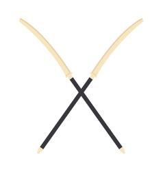 Japanese crossed swords icon cartoon vector