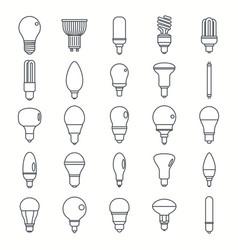 light bulbs lamp outline set vector image