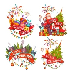 Merry christmas banner set with santa claus vector