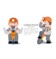 Miners with a jackhammer and a shovel infographics vector