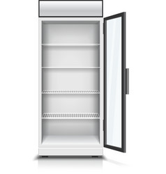 Modern vertical refrigerator opened front panel vector