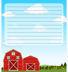 Paper template with red barns in field vector