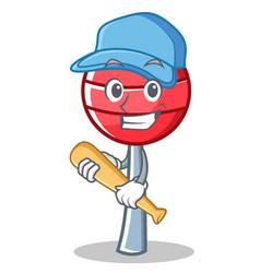 Playing baseball sweet lollipop character cartoon vector