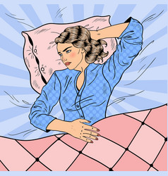 Pop art woman having sleepless night insomnia vector