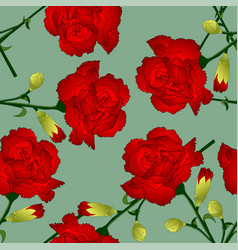 red carnation flower on green background vector image vector image