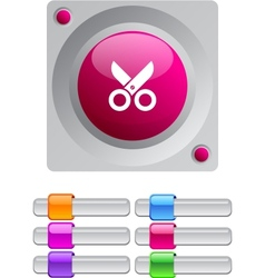 Scissors color round button vector image
