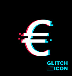 single glitch icon on black background vector image
