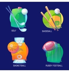 Sport logo of basketball and baseball golf vector image
