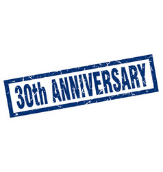 Square grunge blue 30th anniversary stamp vector