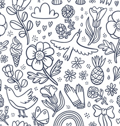 Summertime black floral seamless pattern vector