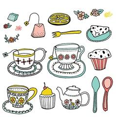 Tea time doodle clip art vector