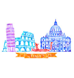 traditional symbols of italy in polygonal style vector image vector image