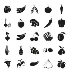 vegetarian delicious food black simple icons set vector image