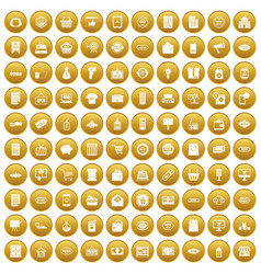 100 sale icons set gold vector