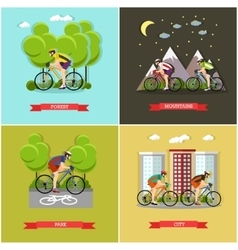Set of places where you can cycling vector
