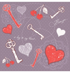 Valentine romantic love card with key to heart vector image