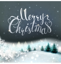 Christmas background with winter snowy landscape vector