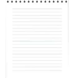 Blank lined paper texture from a notepad vector image
