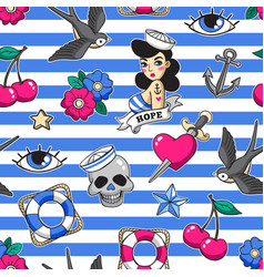 Old school seamless pattern in rockabilly style vector