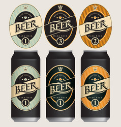 Beer labels for three beer cans vector