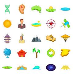 East asia icons set cartoon style vector