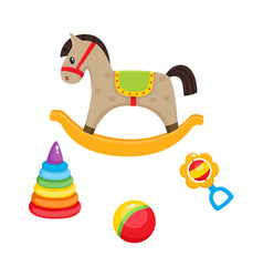 Toys pyramid horse ball and rattle toy vector