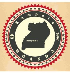Vintage label-sticker cards of uganda vector