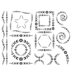 Set of decorative elements and brush vector image