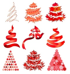 Collecton of stylized Christmas trees vector image