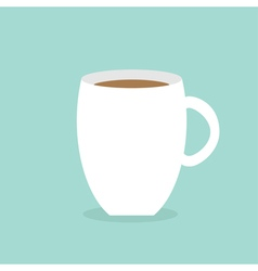 Big coffee cup mug blue background flat modern vector