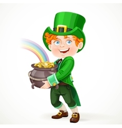 Cute boy in a Leprechaun suit with pot full of vector image
