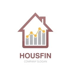 Logo combination of a graph and house vector