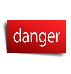 Danger red square isolated paper sign on white vector