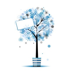 Beautiful winter tree in pot for your design vector