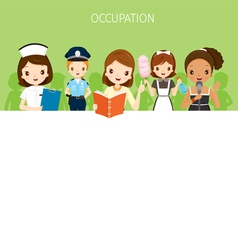 Women with different occupations set on banner vector